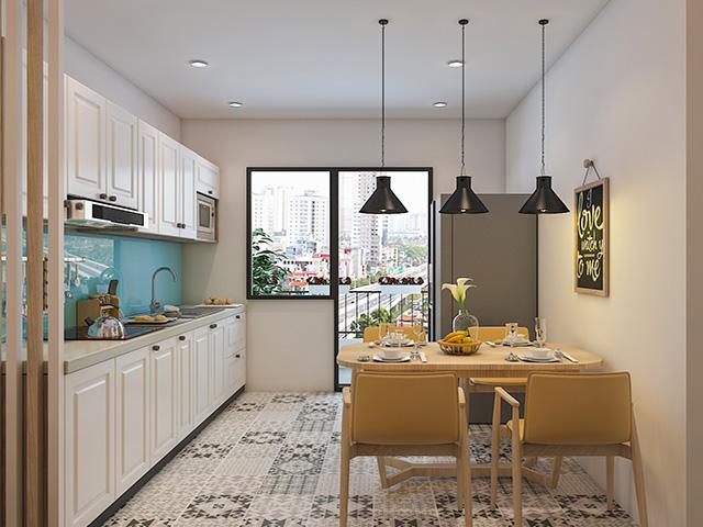 Không gian phòng bếp nhà chung cư được thiết kế nhỏ gọn và khoa học với cách bố trí đầy đủ công năng sử dụng giúp các thành viên trong gia đình thấy thoải mái nhất khi vào bếp