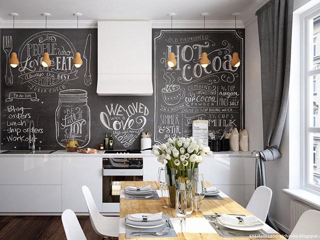Chất liệu gỗ công nghiệp acrylic bóng gương An Cường màu trắng tinh tế được sử dụng trong gian bếp tạo nên một không gian cực kì thoáng đãng và ấn tượng