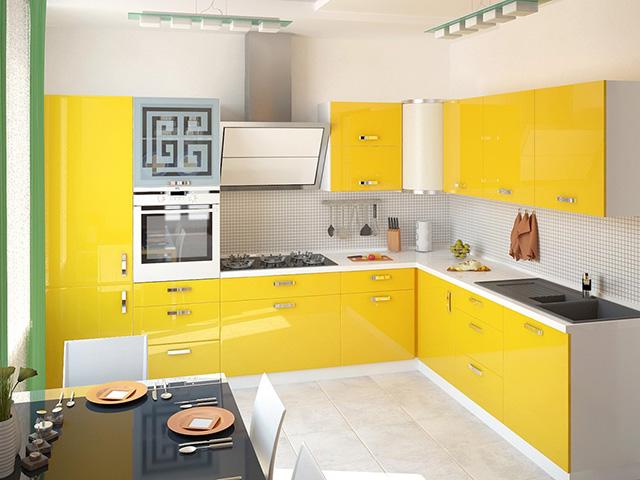 Phòng bếp bằng gỗ công nghiệp acrylic với gam màu vàng chủ đạo thể hiện cá tính, sự trẻ trung của chủ nhà. Bộ bàn ăn được thiết kế vuông vắn với mặt kính dễ dàng lau chùi sạch sẽ, kiểu dáng hiện đại phù hợp với không gian