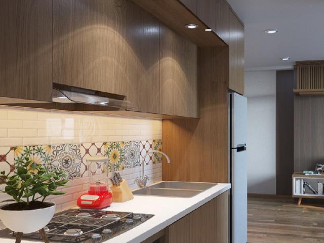 Gỗ công nghiệp laminate An Cường bề mặt vân gỗ được sử dụng cho căn phòng bếp trở nên sang trọng. Thiết kế hiện đại và cực kì tiện nghi