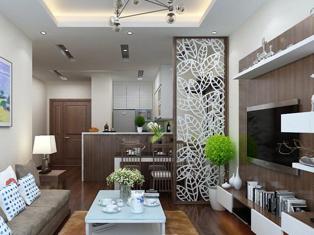 Diện tích nhỏ hẹp nên KTS đã đưa ra ý tưởng thiết kế nhà bếp liên thông với phòng khách để tăng thêm không gian sử dụng