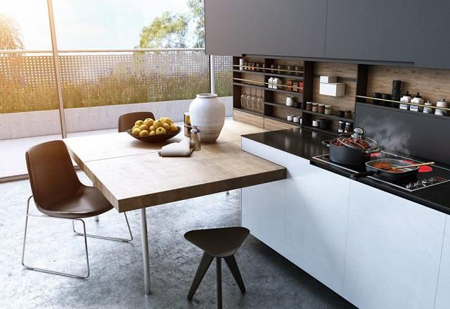 Nhà bếp lãng mạn với thiết kế không gian mở vừa thưởng thức bữa ăn vừa có thể ngắm nhìn khung cảnh tuyệt đẹp bên ngoài