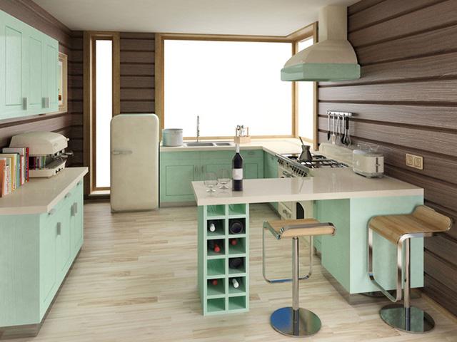 Nhà bếp đẹp lãng mạn theo phong cách Châu Âu với gam màu xanh ngọc nhẹ nhàng mà ấn tượng